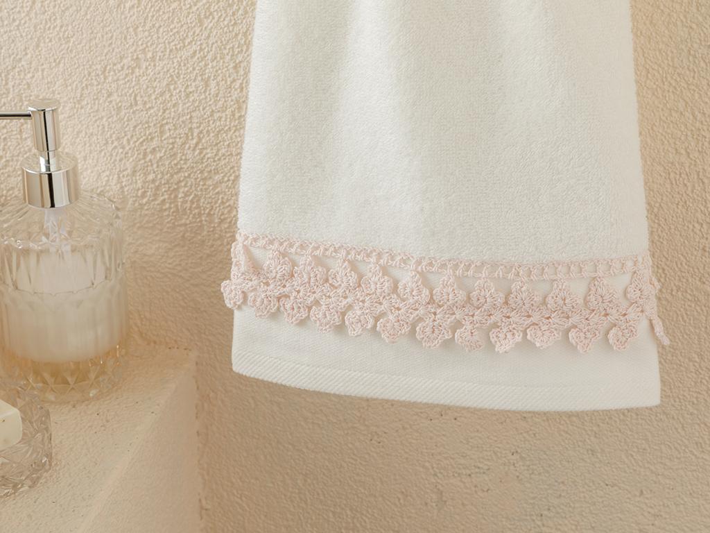 Small Flowers Kroşeli Face Towel 50x80 Cm Ecru - Powder Pink