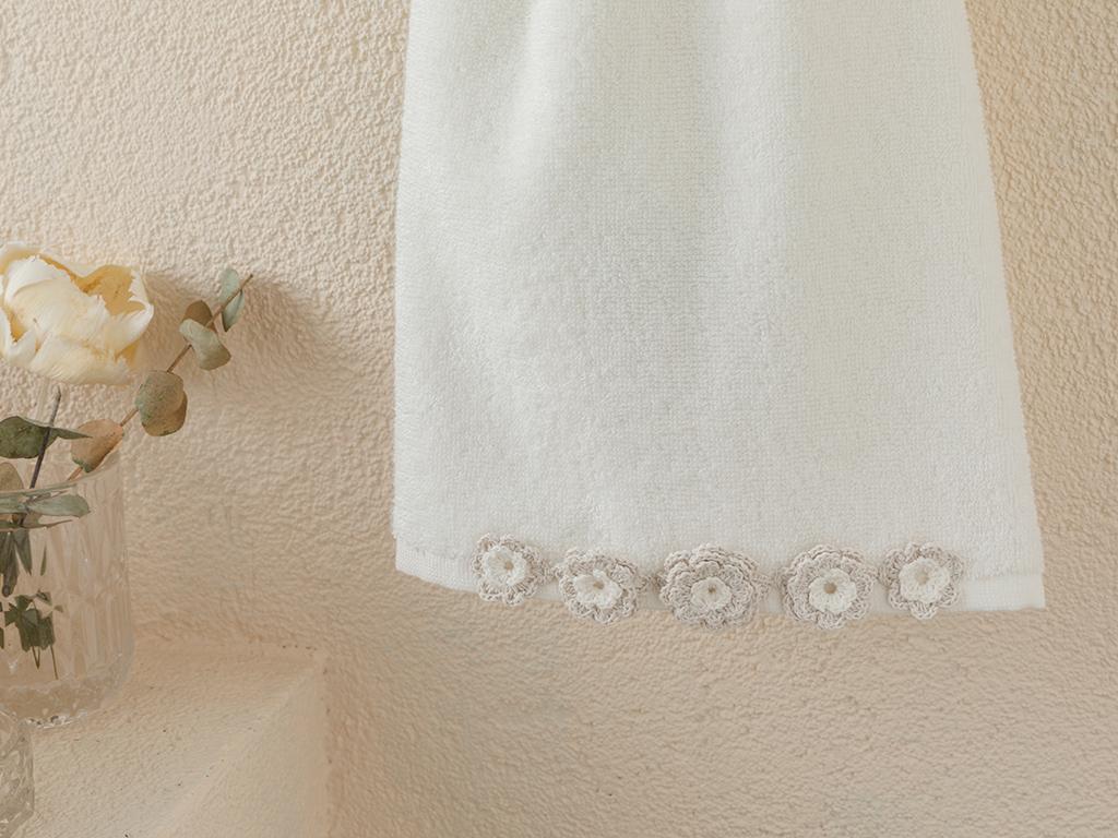 Ashley Kroşeli Face Towel 50x80 Cm Ecru-light Beige