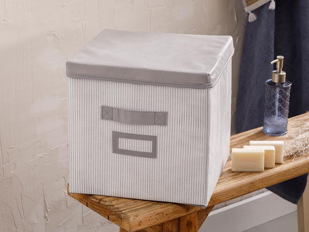 Royal Stripe Polypropilen Storage Box 30x30x20 Cm Gray
