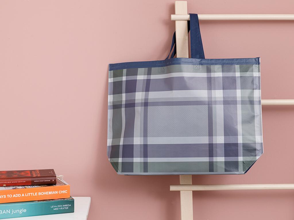 Checked Shopping Bag 54,5x38 Cm Purple