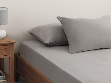Plain Комплект Чаршафи с Ластик Единичен Размер 100x200 См Каменно Сиво
