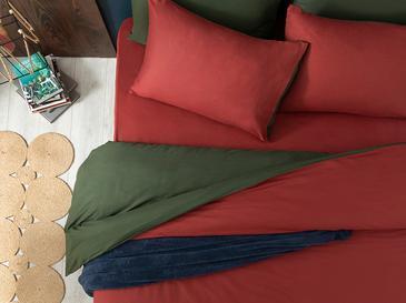 Plain Спално Бельо Компле Единични Памучен 160x220cm Бордо-зелено