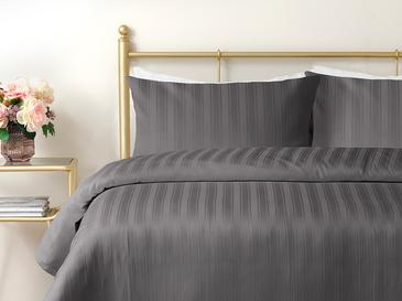 Lior Striped Памучен Сатен Комплект Спално Бельо Двоен Размер 200x220 См Антрацит