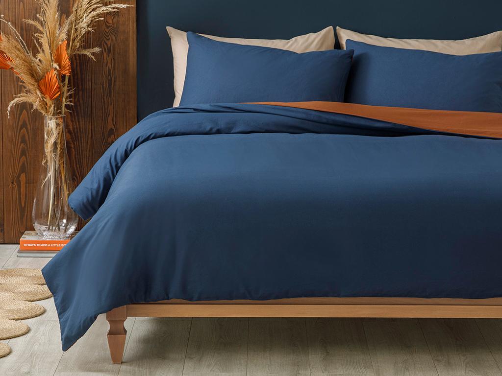 Plain Cotton Duvet Cover Full Set Single Size 160x220 Cm Orange-Blue