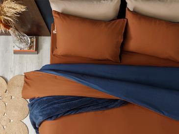 Plain Комплект Спално Бельо Единичен Размер 160x220 См Оранжево-Синьо