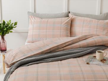 Check Natural Комплект Спално Бель Единични Памучен 160x220cm Розов