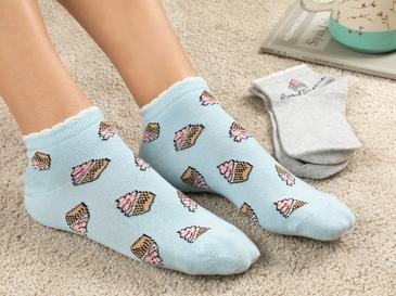 Muffin Дамски Чорапи 2 бр. Сиво-Синьо