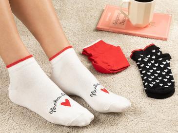 Red Heart Дамски Чорапи 3 Бр. Червено-Черно-Бяло
