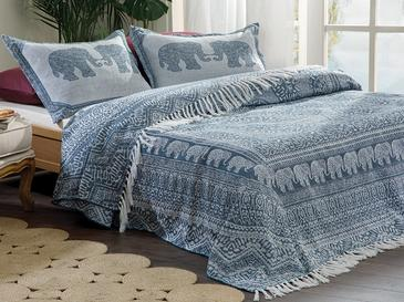 Покривка За Легло К За Двама Жакардово Тъкано 24,5x7,0x19,5 Cm Индиго