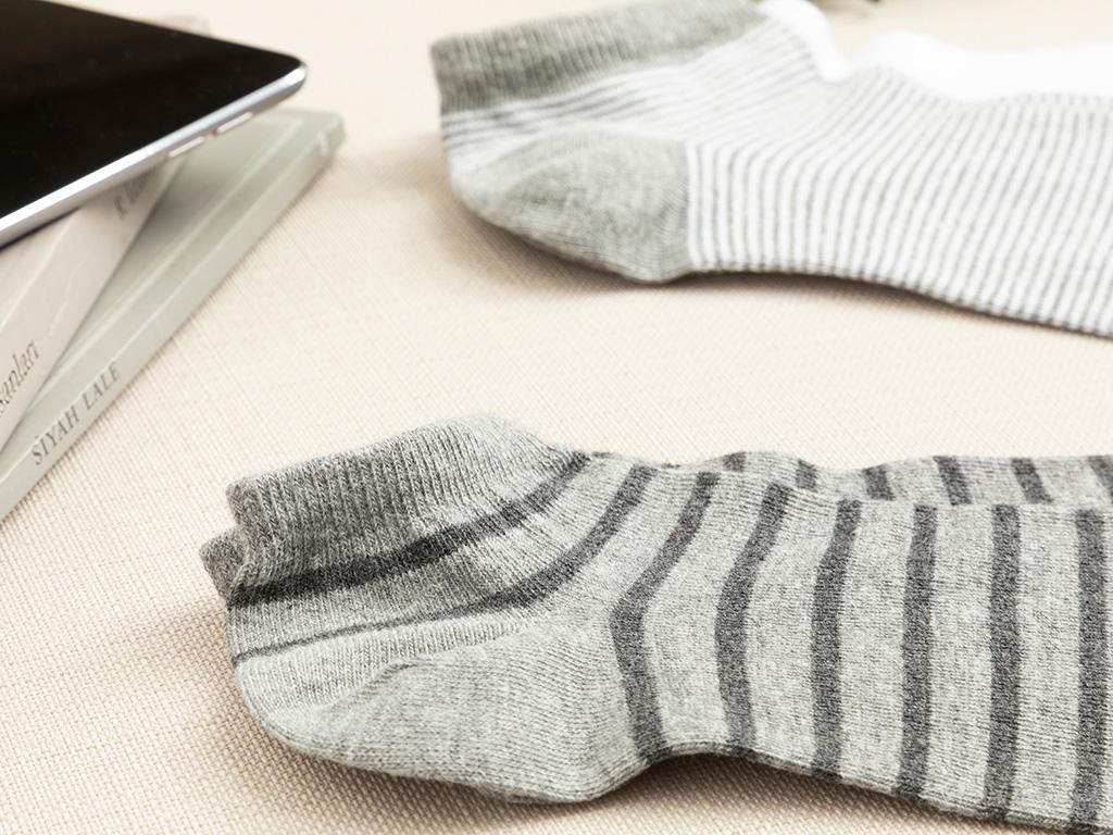 Striped Cotton Socks Mix Gray