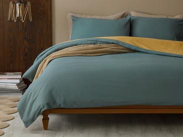 Plain Комплект Спално Бельо Единичен Размер 160x220 См Синьо-Жълто