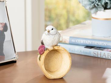 Grape Loving Bird Декоративен Предмет 7,8x7,2x13 См Сиво