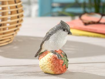 Berry Loving Bird Декоративен Предмет 9,5x7x10,5 Kремаво