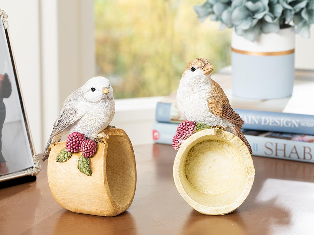 Bird Love Polyresin Decoratıve Object Krem