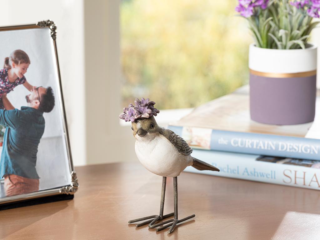 Flower Bird Polyresin Decoratıve Object