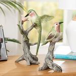 Humming Birds Polyresin Decoratıve Object Yeşil