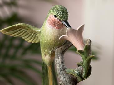 Hibiscus And Hummingbird Декоративен Предмет 15,3x11,5x23,5 См Зелено