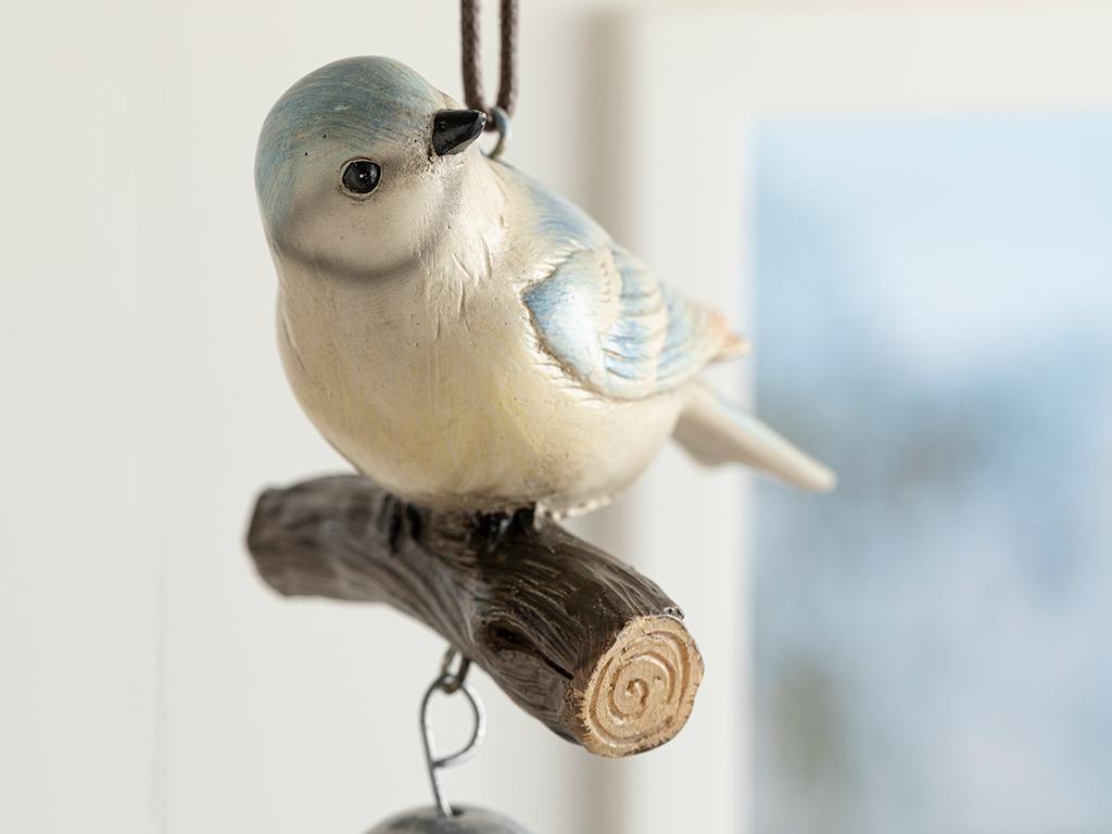 Bird Tweet Аксесоар Със Закачал Polyresin Синьо