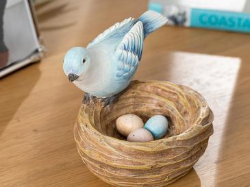Happy Bird Декоративен Предмет 11x10x10,8 См Синьо