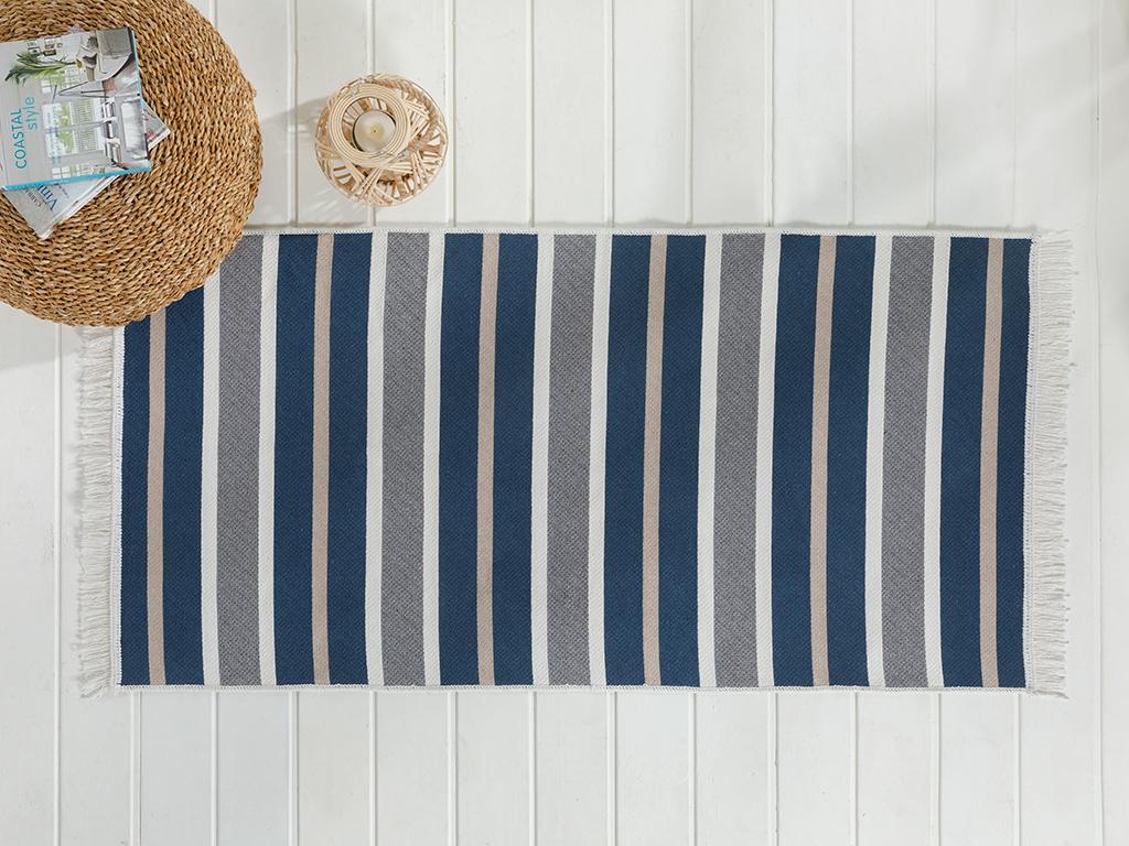 Timeless Stripe Weaved Double Sided Rug 80x150 Cm Gray-navy Blue