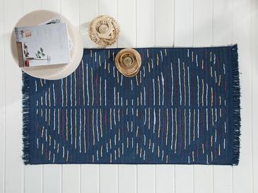 Retro Stripe Килим 80x150 Cm Бяло-Тъмносиньо