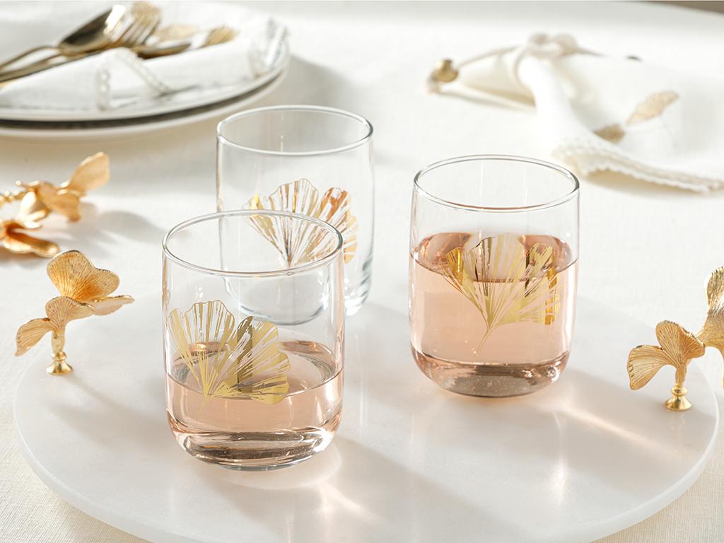 Чаша За Безалкохолно 3 Броя Стъкло 270 Cm Злато