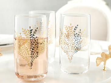 Чаша За Безалкохолно 3 Броя Стъкло 365 Ml Злато