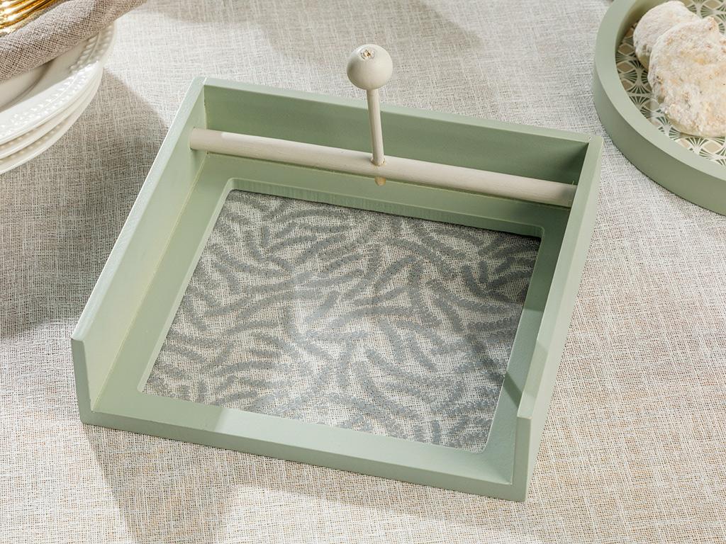 Lovita Wooden Tray 18 Cm Yeşil