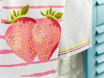 Strawberry Кърпа за Изсушаване 2 Бр. Памук 40x60 См Розово