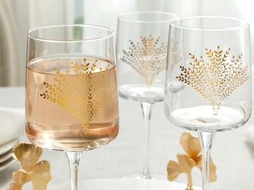 Чаша 3 Броя Стъкло 320 Ml Злато