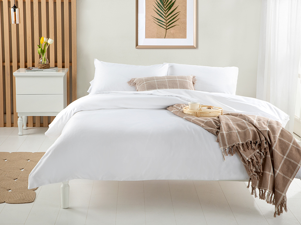 Thıck 300 Tc Pamuk Saten For One Person Duvet Cover Set 160x220 Cm Beyaz