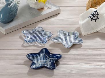 Ocean Stars Съд За Ядки 3 Броя Стъкло 13x9x3 - 9x6x17 - 8x6x10 Cm Бяло-тъмносиньо