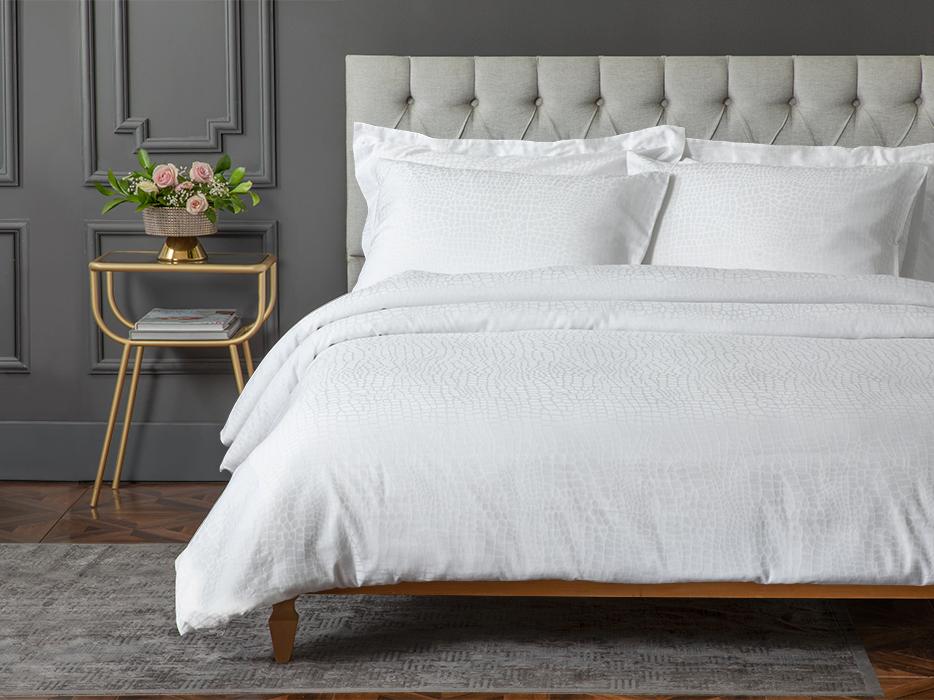 Nature Jacquard Cotton Satin Duvet Cover Set 160x220 Cm Beyaz