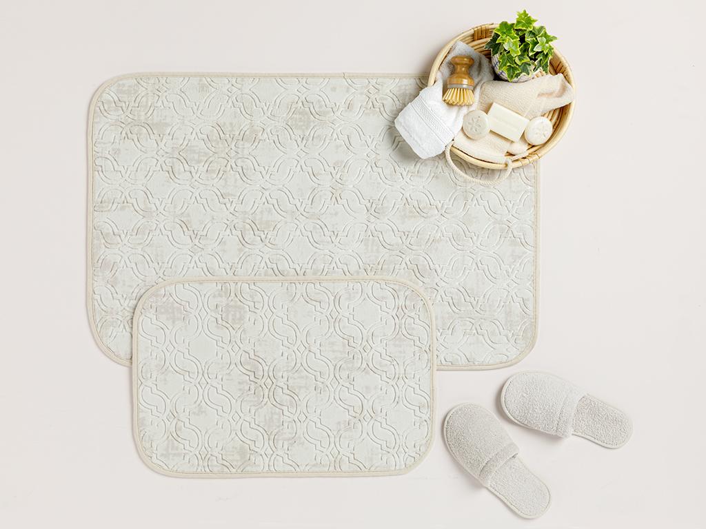 Ground Sıcak Baskı Anti Slip Bath Mat Set Açık Bej