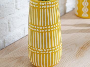Royal Stripe Ваза 13x13x27 Cm Жълто