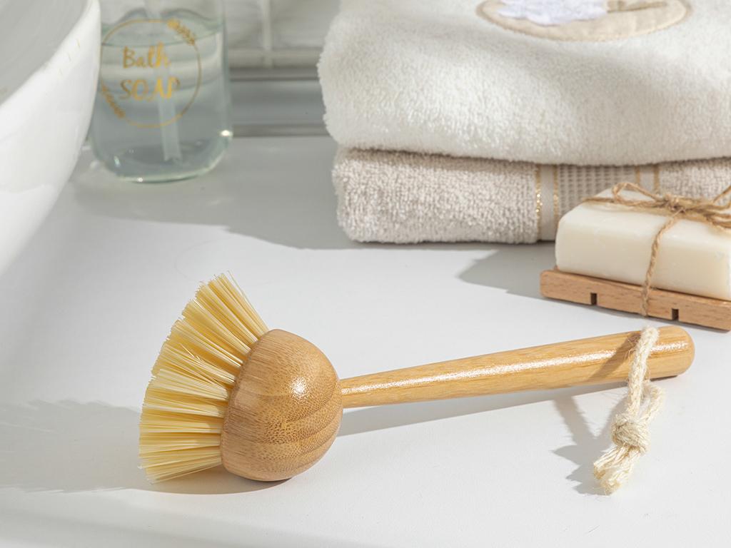 Alysa Bamboo Cleanıng Brush Kahve