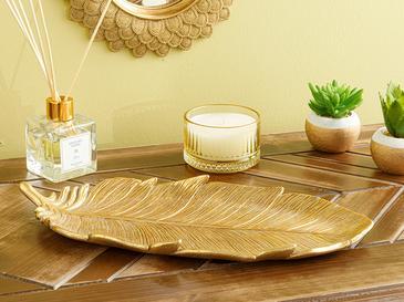 Feathers Декоративна Чиния 11.5x25x2.6 cm Злато