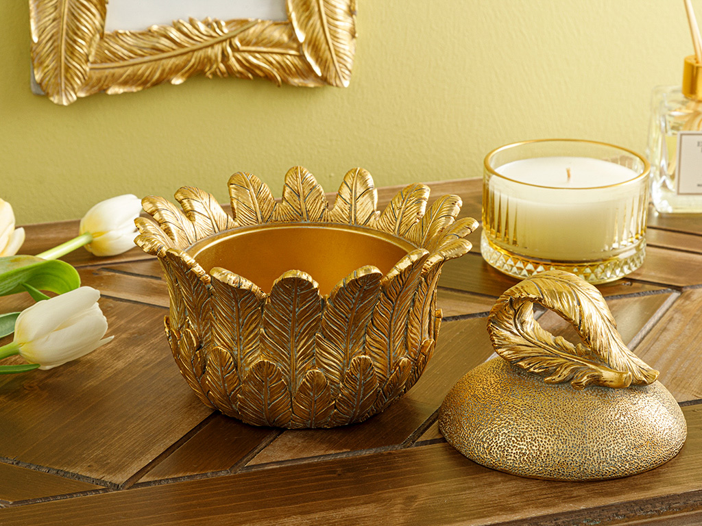 Feathers Decoratıve Box Gold