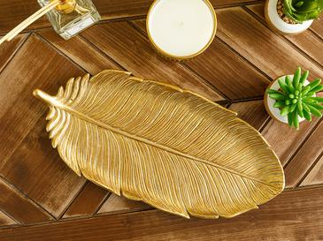 Feathers Декоративна Чиния 16.9x35.7x2.8 cm Злато