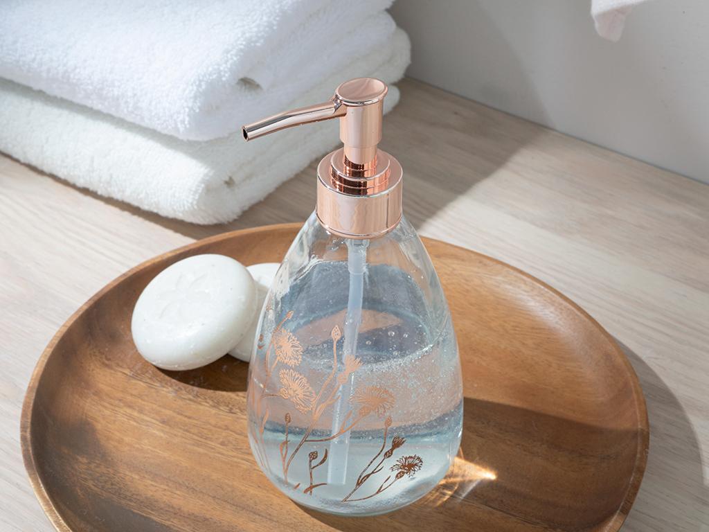 Dandelion Glass Lıquıd Soap Dıspense 7x7x18 Cm Rose Gold