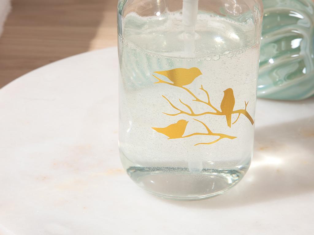 Birdy Glass Lıquıd Soap Dıspense 7x7x18 Cm Gold