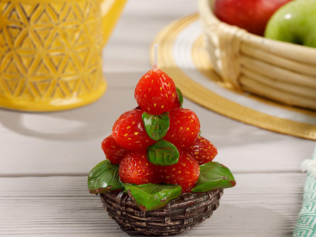 Strawberry Свещ 8x8x16 cm Червено
