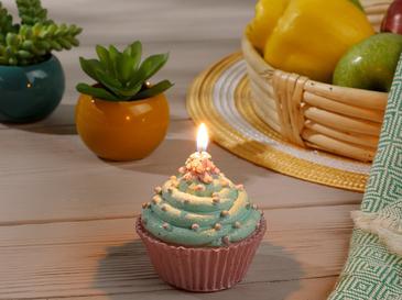 Spotty Cupcake Свещ 9x9x9 Cm Зелено