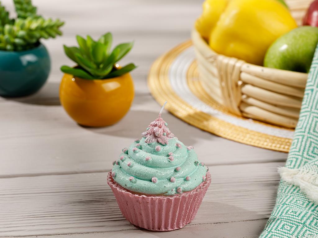 Spotty Cupcake Candle 9x9x9 Cm Yeşil