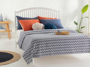Palm Shadow Пике-Лятно Одеяло Двоен Размер 200x220 См Тъмносиньо