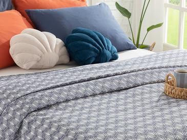 Palm Shadow Пике-Лятно Одеяло Единичен Размер 150x220 См Тъмносиньо