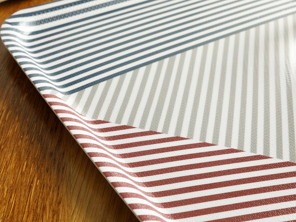 Line Melamine Tray 33x30 Cm Red - White - Dark Blue