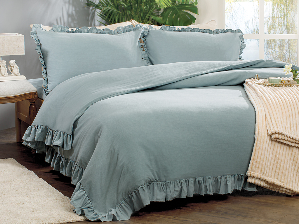 Donna King Size Duvet Cover Set 240x220 Cm. Seledon