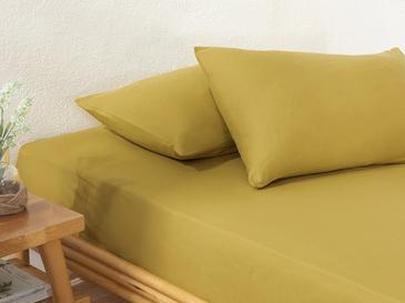 Plain Комплект Чаршафи с Ластик Двоен Размер 160x200 cm Цвят Киви