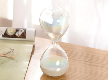 Shine Пясъчен Часовник Стъкло 8x8x20 cm Бяло